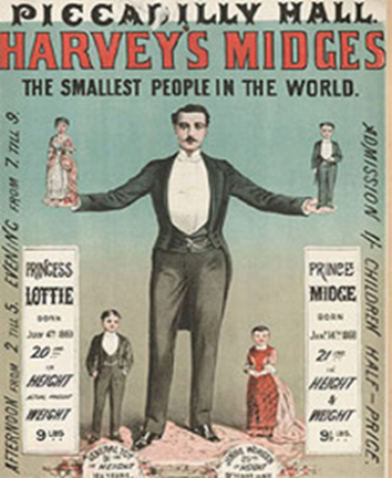 "A vintage poster titled ""Harvey's Midges The smallest people in the world"". It shows a man in a tux standing near and holding four tiny people."